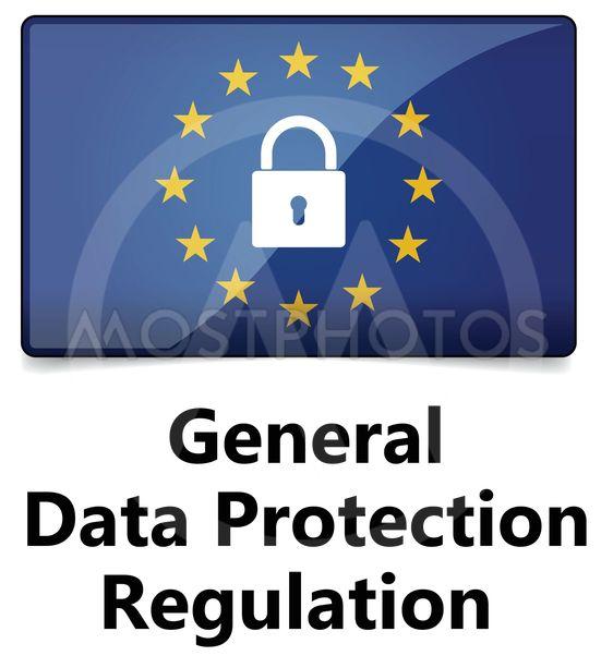 GDPR - General Data Protection Regulation. EU flag with...