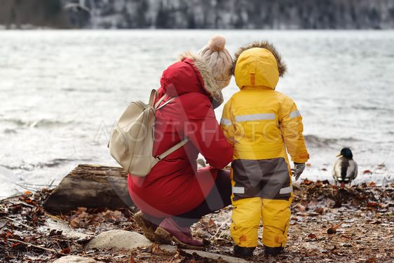 Family with little son enjoy view of lake Alpsee,...