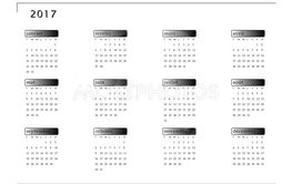 Simple calendar for 2017 year in french language