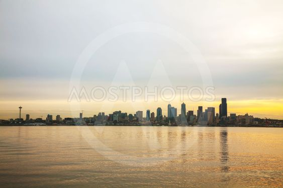 Downtown Seattle cityscape in the morning