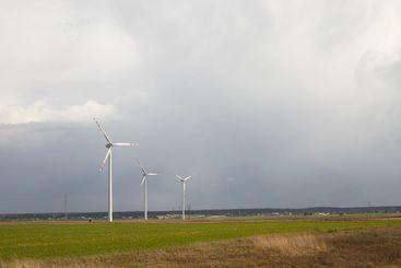 Wind turbines, three modern windmills