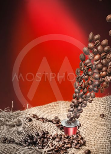 capsule and coffee beans