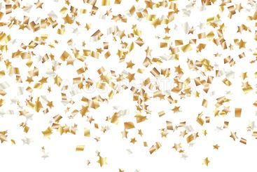 Golden stars of confetti in the air