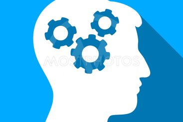 Mind Gears Flat Long Shadow Square Icon