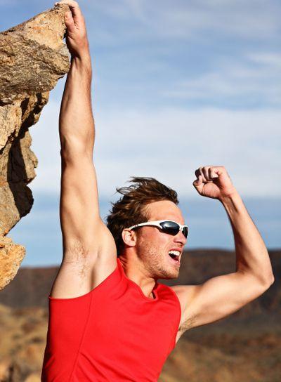 Success man climbing