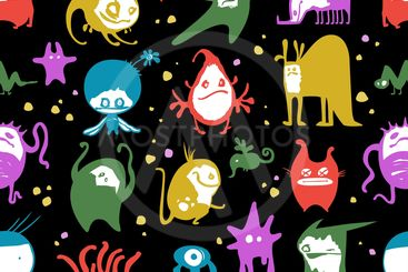 Funny monsters seamless pattern, on black background