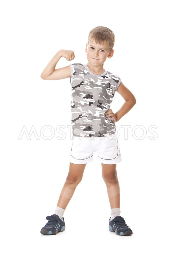 Boy showing his muscle