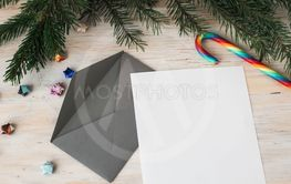 Letter to Santa Claus and grey envelope