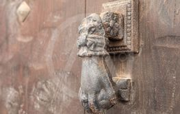 iron knocker on a door