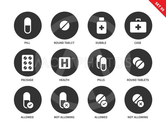 Pills icons on white background