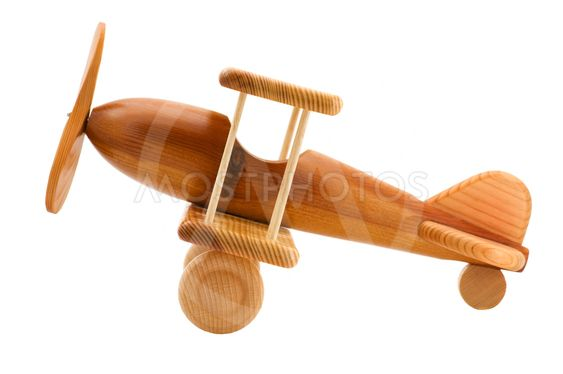 wooden toy airplane close up