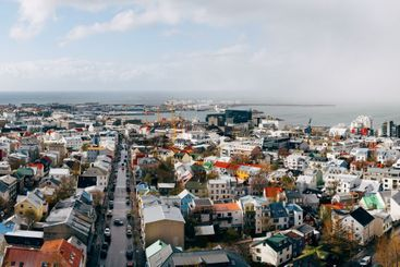 Beautiful wide-angle aerial view of Reykjavik, Iceland...