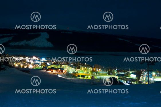 lights of ski resort at night
