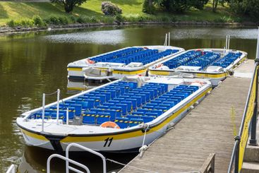 Empty tourist boats in Gothenburg canal
