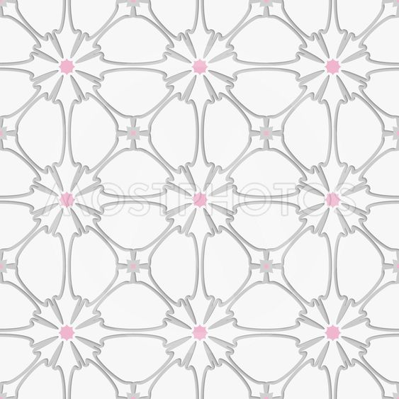 White flourish with pink tile ornament
