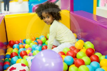 Black little girls in the playroom