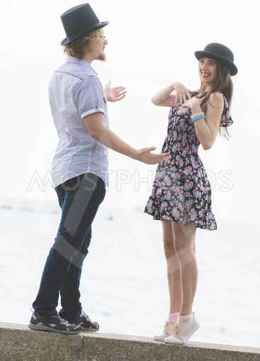 Vintage couple near seaside