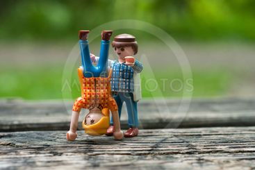 PLaymobil characters making sport in outdoor
