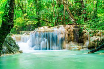 Erawan Waterfall, Erawan National Park at Kanchanaburi in...