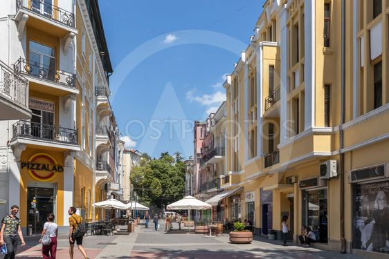 Walking peaople at Pedestian streets of city of Plovdiv