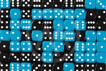 Background of 70 random ordered black and blue dices