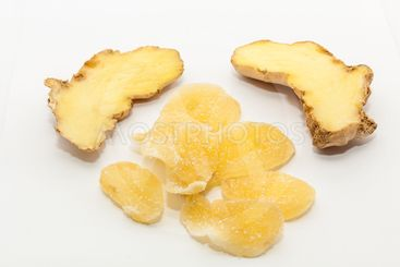Dry ginger with sugar coated and fresh ginger
