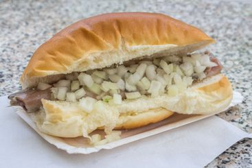 Bread with raw herring and unions