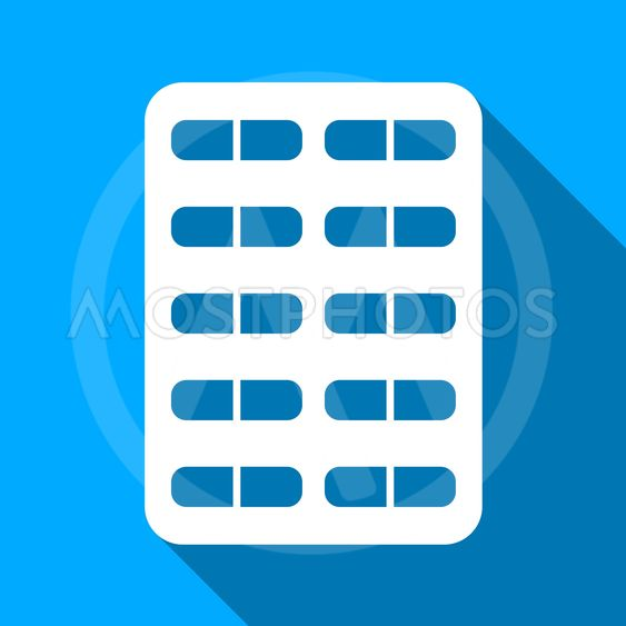 Pill Blister Flat Long Shadow Square Icon