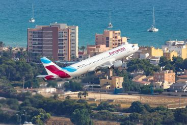 Eurowings Airbus A320 airplane Mallorca airport aerial...