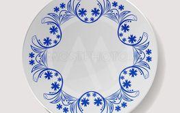 Realistic Plate Vector. Closeup Porcelain Tableware...
