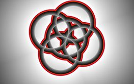 Five Circles Red and Gray Fractal