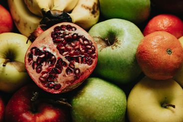 A passion fruit over other fruits, healthy food spring...