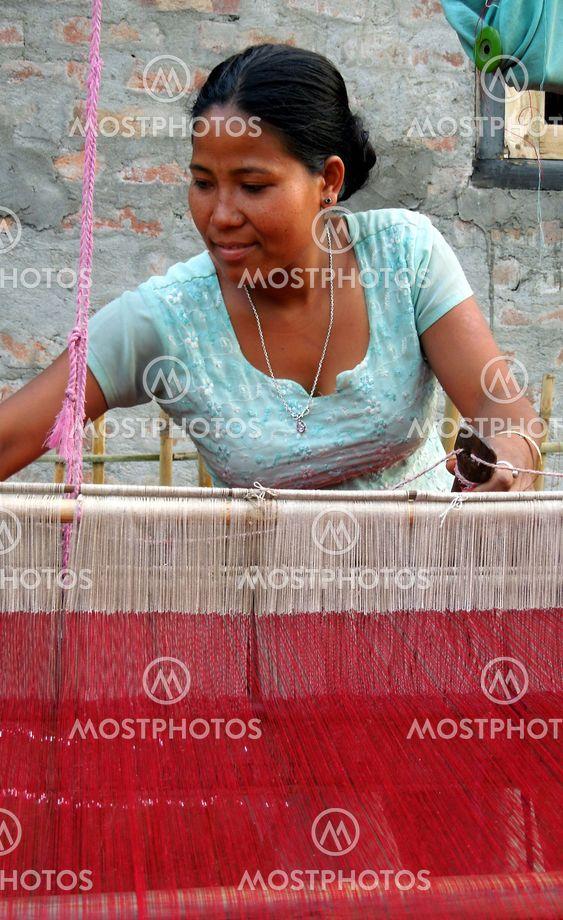 Weaver in a Bodo village