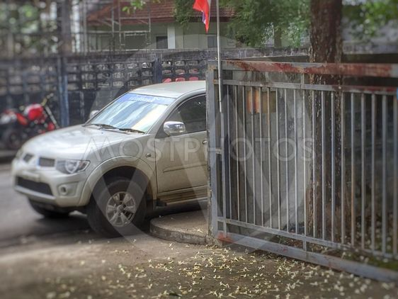 Car illegally parked in Thailand