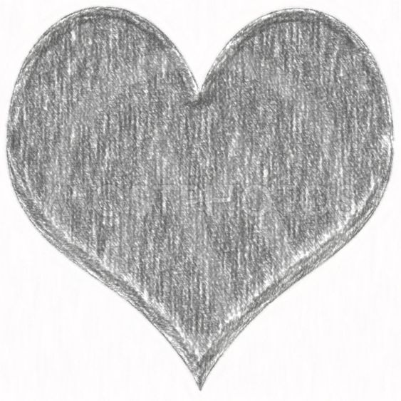 Heart black and white crayon