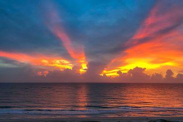 Sunrise over the Atlantic Ocean.