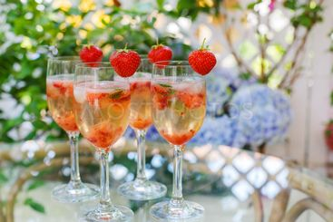 Summer cocktail with champagne, peppermint and fresh...