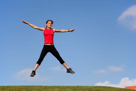 Jumping outdoor, woman, jump, field