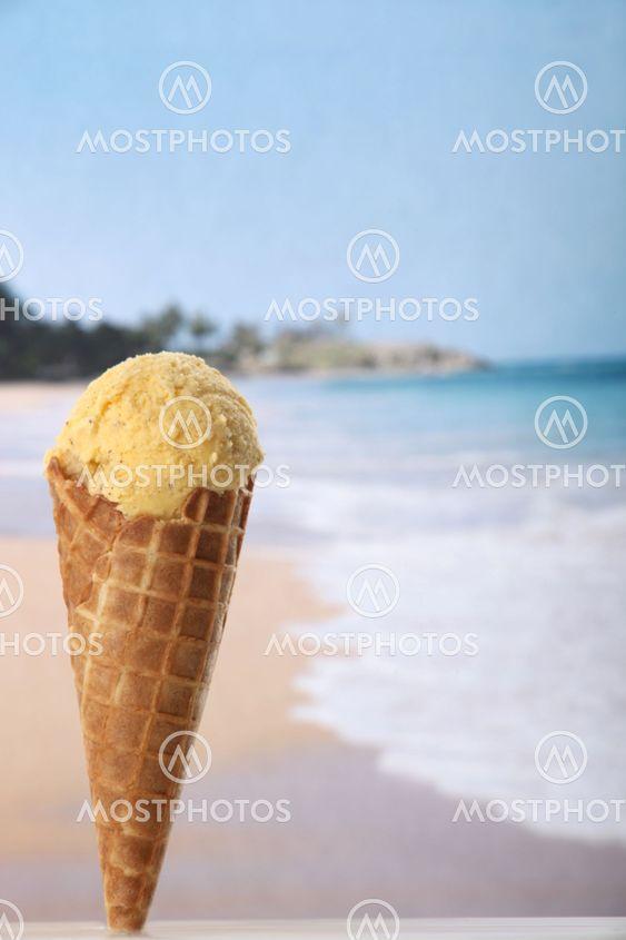 Vanilla ice cream on beach