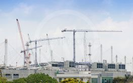 Mega construction site and cranes