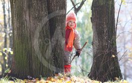 A young kids in a park walk