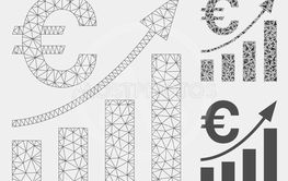 Euro Bar Chart Trend Vector Mesh 2D Model and Triangle...