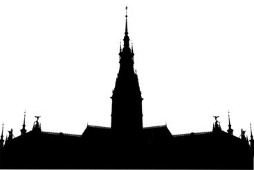 Silhouette of a palace with a tower