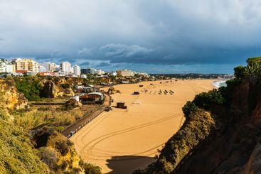 Empty beach at Praia da Rocha, Algarve