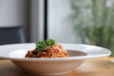 spaghetti Bolognese with minced beef and tomato sauce...