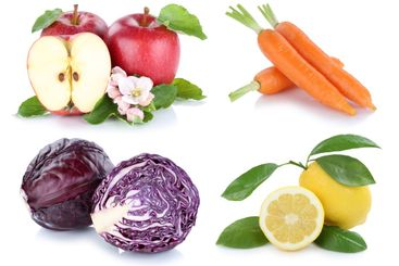 Fruits and vegetables collection isolated apple carrots...