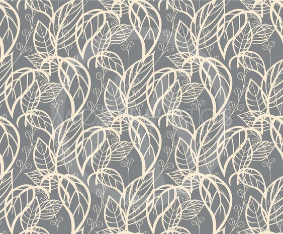 Seamless floral pattern with hand drawn leaves, vector...