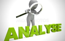 Analysis or analyse concept icon shows scrutiny of data...