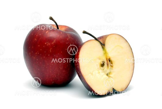 Two red ripe apples