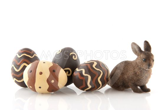 chocolate easter eggs with hare